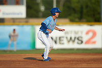 Jack Gethings (49) of the Burlington Royals takes his lead off of second base against the Danville Braves at Burlington Athletic Stadium on August 9, 2019 in Burlington, North Carolina. The Royals defeated the Braves 6-0. (Brian Westerholt/Four Seam Images)