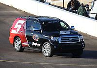Feb. 22, 2013; Chandler, AZ, USA; NHRA tow vehicle for funny car driver Cruz Pedregon during qualifying for the Arizona Nationals at Firebird International Raceway. Mandatory Credit: Mark J. Rebilas-