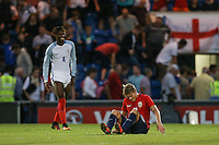 Martin Odegaard (Real Madrid) of Norway shows his disappointment as his team are crushed by England during the International EURO U21 QUALIFYING - GROUP 9 match between England U21 and Norway U21 at the Weston Homes Community Stadium, Colchester, England on 6 September 2016. Photo by Andy Rowland / PRiME Media Images.
