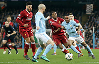 Manchester City's Raheem Sterling drives into the Liverpool box<br /> <br /> Photographer Rich Linley/CameraSport<br /> <br /> UEFA Champions League Quarter-Final Second Leg - Manchester City v Liverpool - Tuesday 10th April 2018 - The Etihad - Manchester<br />  <br /> World Copyright &copy; 2017 CameraSport. All rights reserved. 43 Linden Ave. Countesthorpe. Leicester. England. LE8 5PG - Tel: +44 (0) 116 277 4147 - admin@camerasport.com - www.camerasport.com