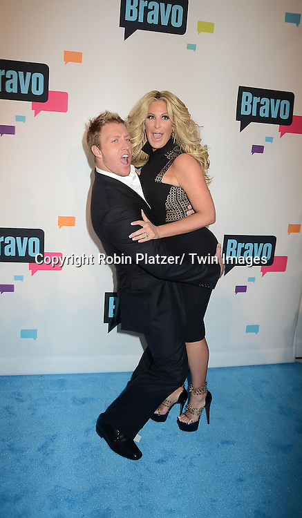 """Kroy Biermann and wife Kim Zolciak of """" Don't Be Tardy"""" arrive at the Bravo 2013  Upfront on April 3, 2013 at Pillars 37 Studio in New York City."""