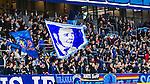 Stockholm 2014-03-09 Fotboll Svenska Cupen Djurg&aring;rdens IF - Assyriska FF :  <br /> Djur&aring;grdens supportrar med en flagga p&aring; l&auml;ktaren <br /> (Foto: Kenta J&ouml;nsson) Nyckelord:  Djurg&aring;rden supporter fans publik supporters