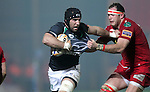 John Muldoon tries to get away from Lou Reed..RaboDirect Pro12.Scarlets v Connacht.02.03.12.©STEVE POPE