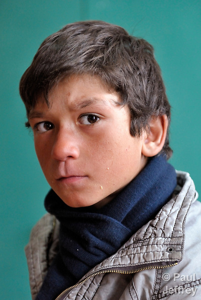 A boy who studies in the Branko Pesic School, an educational center for Roma children and families in Belgrade, Serbia, which is supported by Church World Service. Many of the students' families came to Belgrade as refugees from Kosovo. Many of them lack legal status in Serbia, and thus have difficulty obtaining formal employment and accessing government services.