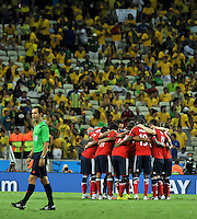 FORTALEZA - BRASIL -04-07-2014. Jugadores de Colombia (COL) realizan una oración previo al partido de los cuartos de final con Brasil (BRA) por la Copa Mundial de la FIFA Brasil 2014 jugado en el estadio Castelao de Fortaleza./ Players of Colombia (COL) make a prayer prior the match of the Quarter Finals with Brazil (BRA) for the 2014 FIFA World Cup Brazil played at Castelao stadium in Fortaleza. Photo: VizzorImage / Alfredo Gutiérrez / Contribuidor