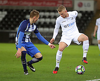 Pictured: Adam King of Swansea (R) Tuesday 28 February 2017<br /> Re: Premier League International Cup, Swansea City U23 v Hertha Berlin II at at the Liberty Stadium, Swansea, UK