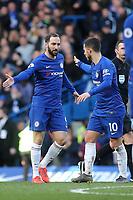 Eden Hazard celebrates scoring Chelsea's opening goal with Gonzola Higuain during Chelsea vs Wolverhampton Wanderers, Premier League Football at Stamford Bridge on 10th March 2019