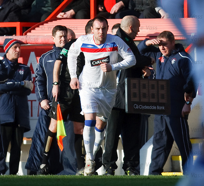 Kris Boyd comes off the substitutes bench