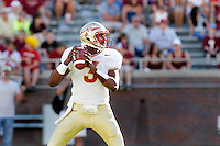 TALLAHASSEE, FLA. 4/16/11-FSUG&G01611 CH-Gold quarterback EJ Manuel looks for a receiver during second half action in the Florida State University Garnet and Gold game Saturday in Tallahassee. Garnet beat Gold 19-17..COLIN HACKLEY PHOTO