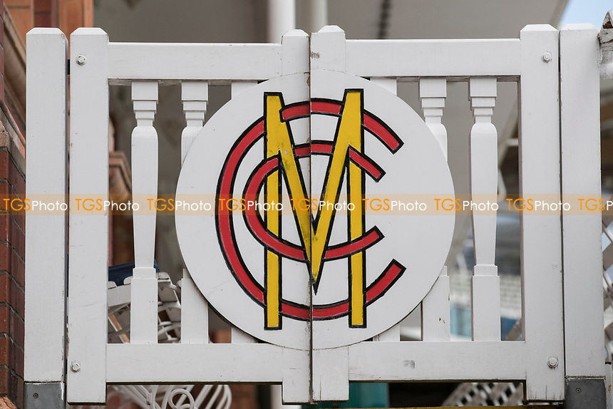 MCC logo on the Pavillion members gates at Lords County Cricket Ground during Middlesex CCC vs Lancashire CCC, Specsavers County Championship Division 2 Cricket at Lord's Cricket Ground on 12th April 2019