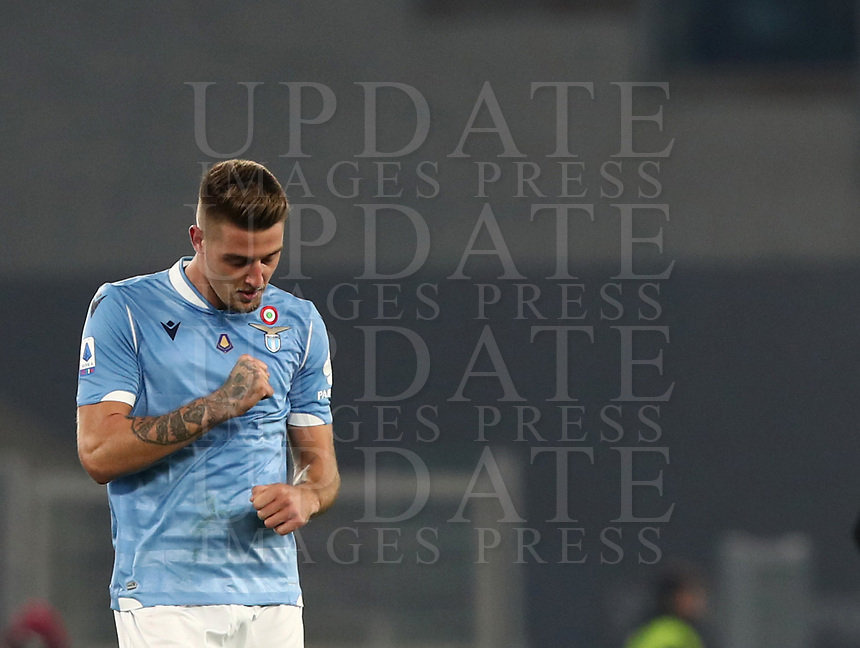Football, Serie A: S.S. Lazio - Juventus Olympic stadium, Rome, December 7, 2019. <br /> Lazio's Sergej Milinkovic-Savic celebrates after scoring during the Italian Serie A football match between S.S. Lazio and Juventus at Rome's Olympic stadium, Rome on December 7, 2019.<br /> UPDATE IMAGES PRESS/Isabella Bonotto