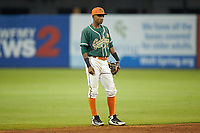 Greensboro Grasshoppers shortstop Jose Devers (2) on defense against the West Virginia Power at First National Bank Field on June 1, 2018 in Greensboro, North Carolina. The Grasshoppers defeated the Power 10-3. (Brian Westerholt/Four Seam Images)