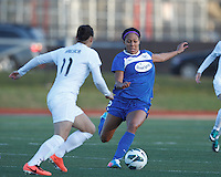 Boston Breakers forward Sydney Leroux (2) struggles to retain control. In a National Women's Soccer League Elite (NWSL) match, the Boston Breakers (blue) tied the Washington Spirit (white), 1-1, at Dilboy Stadium on April 14, 2012.