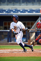 GCL Rays second baseman Anthony Cantillo (38) at bat during the second game of a doubleheader against the GCL Red Sox on August 4, 2015 at Charlotte Sports Park in Port Charlotte, Florida.  GCL Red Sox defeated the GCL Rays 2-1.  (Mike Janes/Four Seam Images)