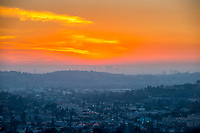 Sunset as seen from the Occidental College landmark, Fiji Hill, on Jan. 22, 2014.<br />