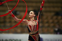 "Viktoriya Lenyshyn of Ukraine performs with ribbon at 2008 World Cup Kiev, ""Deriugina Cup"" in Kiev, Ukraine on March 22, 2008."