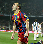 2010 Spanish La Liga FC Barcelona follow on top in Spanish Liga after beat 5 - 0 Real Sociedad at Camp Nou. Picture show Andres Iniesta celebartion after score