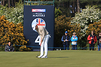 Nino Bertasio (ITA) on the 4th green during Round 3 of the Betfred British Masters 2019 at Hillside Golf Club, Southport, Lancashire, England. 11/05/19<br /> <br /> Picture: Thos Caffrey / Golffile<br /> <br /> All photos usage must carry mandatory copyright credit (&copy; Golffile | Thos Caffrey)