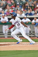 Tennessee Smokies center fielder Trey Martin (25) swings at a pitch during a game against the Mississippi Braves at Smokies Stadium on April 12, 2017 in Kodak, Tennessee. The Braves defeated the Smokies 6-2. (Tony Farlow/Four Seam Images)