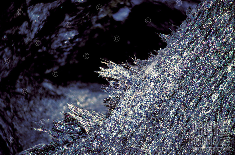 Pele's hair, volcanic glass at the Hawaii volcanoes national park on the Big island of Hawaii