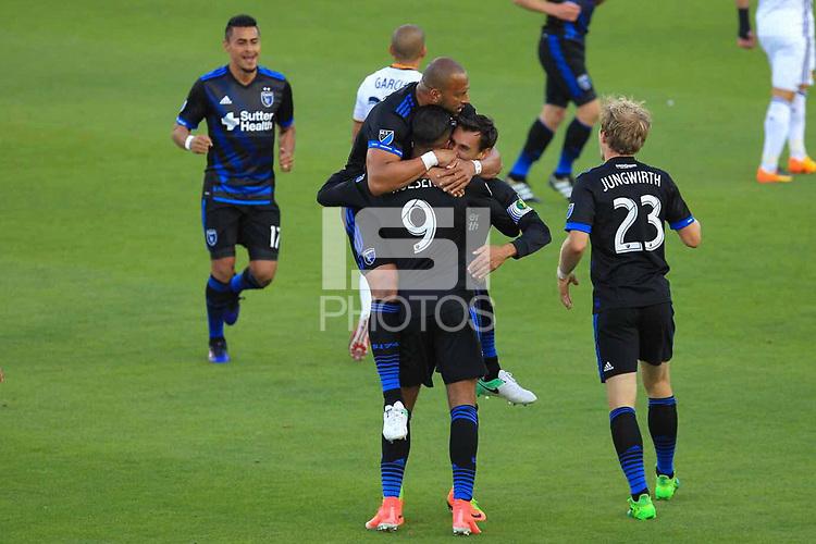 San Jose, CA - Sunday May 28, 2017: Chris Wondolowski, Danny Hoesen during a Major League Soccer (MLS) match between the San Jose Earthquakes and the Los Angeles Galaxy at Avaya Stadium.