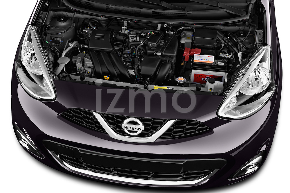 High angle engine detail of a 2013 - 2014 Nissan MICRA 5 Door Hatchback 2WD