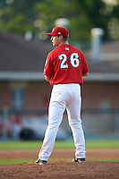 Auburn Doubledays relief pitcher Nick Conner (26) gets ready to deliver a pitch during a game against the Mahoning Valley Scrappers on June 19, 2016 at Falcon Park in Auburn, New York.  Mahoning Valley defeated Auburn 14-3.  (Mike Janes/Four Seam Images)