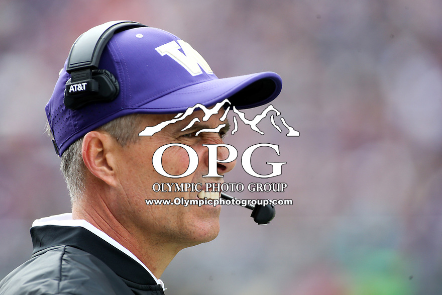 03 September 2016: Washington's Chris Petersen against Rutgers.  Washington defeated Rutgers 48-13 at the University of Washington in Seattle, WA.