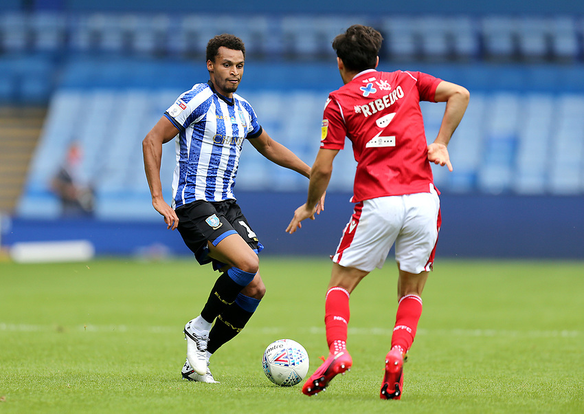 Sheffield Wednesday's Jacob Murphy vies for possession with Nottingham Forest's Yuri Ribeiro <br /> <br /> Photographer Rich Linley/CameraSport<br /> <br /> The EFL Sky Bet Championship - Sheffield Wednesday v Nottingham Forest - Saturday 20th June 2020 - Hillsborough - Sheffield <br /> <br /> World Copyright © 2020 CameraSport. All rights reserved. 43 Linden Ave. Countesthorpe. Leicester. England. LE8 5PG - Tel: +44 (0) 116 277 4147 - admin@camerasport.com - www.camerasport.com