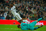 Real Madrid CF's Vinicius Jr and FC Barcelona's goalkeeper Ter Stegen competes for the ball during La Liga match. Mar 01, 2020. (ALTERPHOTOS/Manu R.B.)
