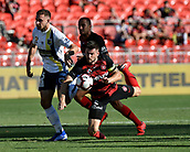 9th February 2019, Spotless Stadium, Sydney, Australia; A League football, Western Sydney Wanderers versus Central Coast Mariners; Jordan Murray of the Central Coast Mariners  and Brendan Hamill of the Western Sydney Wanderers compete for the ball