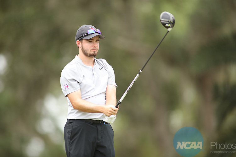 HOWEY IN THE HILLS, FL - MAY 19: Stephen Shephard of Huntingdon College tees off during the Division III Men's Golf Championship held at the Mission Inn Resort and Club on May 19, 2017 in Howey In The Hills, Florida. (Photo by Cy Cyr/NCAA Photos via Getty Images)