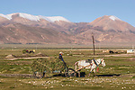 A horse-drawn hay wagon in Tingri, Tibet