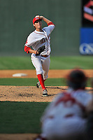 Pitcher Jake Drehoff (29) of the Greenville Drive in a game against the Savannah Sand Gnats on Saturday, September 5, 2015, at Fluor Field at the West End in Greenville, South Carolina. (Tom Priddy/Four Seam Images)