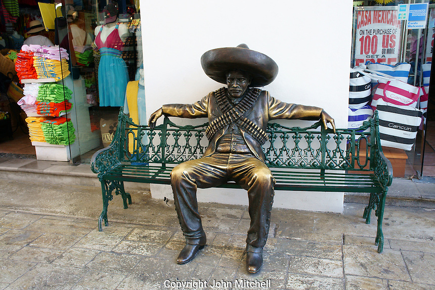 Bronze Pancho Villa sculpture at La Isla Shopping Village mall in the Zona Hotelera, Cancun, Quintana Roo, Mexico.