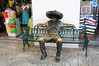 Bronze Pancho Villa sculpture at La Isla Shopping Village mall in the Zona Hotelera, Cancun, Quintana Roo, Mexico.