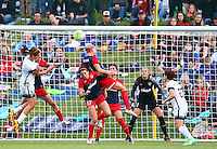 Boyds, MD - Saturday May 07, 2016: Washington Spirit defender Megan Oyster (4) heads over Portland Thorns FC midfielder Lindsey Horan (7) during a regular season National Women's Soccer League (NWSL) match at Maureen Hendricks Field, Maryland SoccerPlex. Washington Spirit tied the Portland Thorns 0-0.