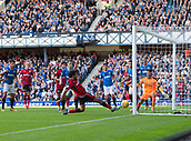 9th September 2017, Ibrox Park, Glasgow, Scotland; Scottish Premier League football, Rangers versus Dundee; Dundee's Sofien Moussa is inches away from levelling the scores early in the second half