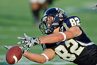 27 November 2010:  FIU wide receiver Greg Ellingson (82) tries but cannot hold onto a pass in the second quarter as the FIU Golden Panthers defeated the Arkansas State Red Wolves, 31-24, at FIU Stadium in Miami, Florida.