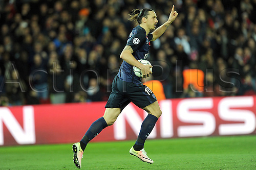 06.04.2016. Paris, France. UEFA CHampions League, quarter-final. Paris St Germain versus Manchester City.  ZLATAN IBRAHIMOVIC (psg)  goal celebrations