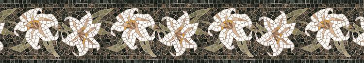 """7"""" Lily border, a hand-cut stone mosaic, shown in polished Emperador Dark, Thassos, Carrara, Rosa Portagallo, Rosa Verona, Persian Gold , Verde Luna, and Verde Alpi."""