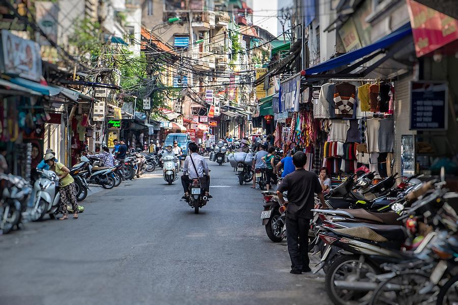 HANOI, VIETNAM - CIRCA SEPTEMBER 2014:  Typical street of the Old Quarter in  Hanoi, Vietnam.