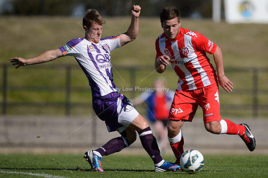 MELBOURNE - 22 September: Scott Jamieson of the Glory wins the ball at a pre-season match between Melbourne Heart and Perth Glory at Epping Stadium on 22 September 2012. (Photo by Sydney Low / syd-low.com)