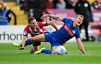 Lincoln City's Jack Payne vies for possession with Sunderland's Max Power<br /> <br /> Photographer Chris Vaughan/CameraSport<br /> <br /> The EFL Sky Bet League One - Lincoln City v Sunderland - Saturday 5th October 2019 - Sincil Bank - Lincoln<br /> <br /> World Copyright © 2019 CameraSport. All rights reserved. 43 Linden Ave. Countesthorpe. Leicester. England. LE8 5PG - Tel: +44 (0) 116 277 4147 - admin@camerasport.com - www.camerasport.com