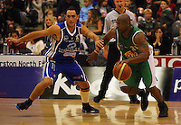 Matt Te Huna tries to stop Kantrail Horton going forward during the NBL Round 14 match between the Manawatu Jets  and Wellington Saints. Arena Manawatu, Palmerston North, New Zealand on Saturday 31 May 2008. Photo: Dave Lintott / lintottphoto.co.nz