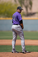Colorado Rockies relief pitcher Reagan Biechler (95) prepares to deliver a pitch during an Extended Spring Training game against the Chicago Cubs at Sloan Park on April 17, 2018 in Mesa, Arizona. (Zachary Lucy/Four Seam Images)