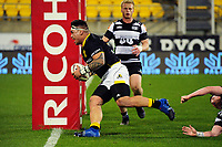 Alex Fidow scores during the Mitre 10 Cup rugby union match between Wellington Lions and Hawkes Bay Magpies at Westpac Stadium, Wellington, New Zealand on Wednesday, 6 September 2017. Photo: Dave Lintott / lintottphoto.co.nz