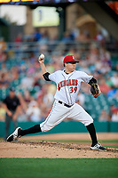 Indianapolis Indians relief pitcher Montana DuRapau (39) delivers a pitch during a game against the Rochester Red Wings on July 24, 2018 at Victory Field in Indianapolis, Indiana.  Rochester defeated Indianapolis 2-0.  (Mike Janes/Four Seam Images)