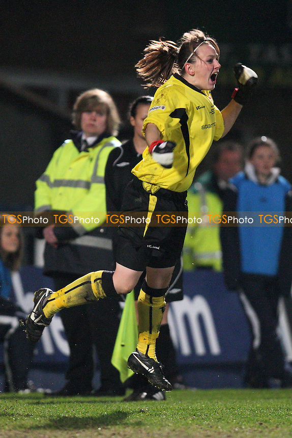 Barnet goalkeeper Cherie Rowlands celebrates making a save during the penalty shoot-out - Barnet Ladies vs Nottingham Forest Ladies - FA Women's Premier League Cup Final at, Adams Park, Wycombe Wanderers FC - 24/03/11 - MANDATORY CREDIT: Gavin Ellis/TGSPHOTO - Self billing applies where appropriate - Tel: 0845 094 6026