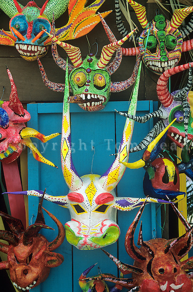 Carnival masks at tourist shop in Colonial District of Sant Domingo, Dominican Republic, AGPix_0222.